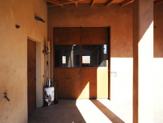 Vue de l'extérieur porte coulissante acier