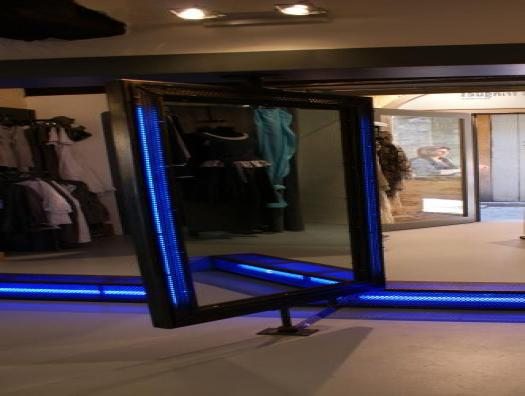 Double-sided swivel mirror, neon integrated